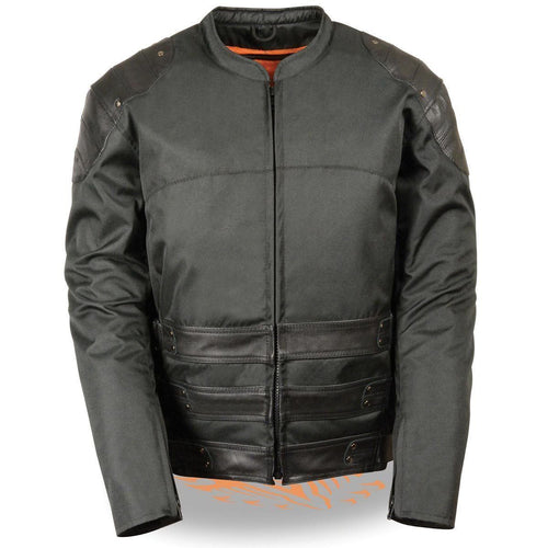 Milwaukee Leather MPM1755 Men's Black 'Assault Style' Leather and Textile Jacket