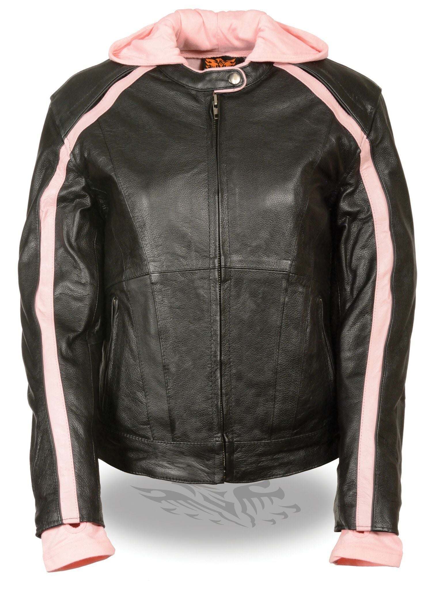Milwaukee Leather SH1951 Women's Striped Black/Pink Leather Jacket