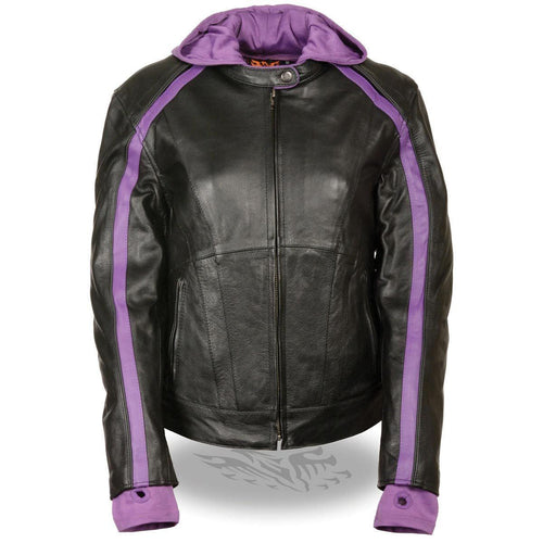 Milwaukee Leather SH1951 Women's Striped Black and Purple Leather Jacket with Zip-Out Hoodie and Gun Pocket