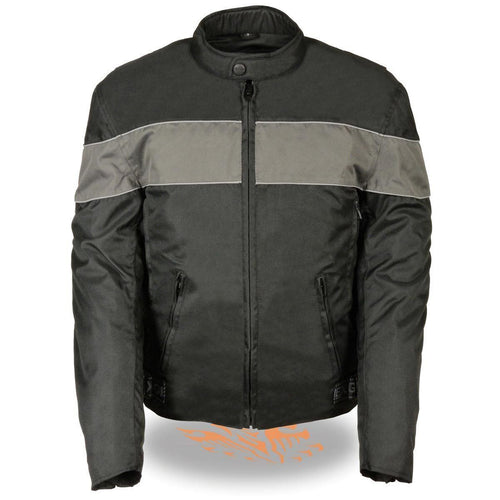 NexGen SH212101 Men's Black Textile Moto Jacket with Grey Reflective Striping