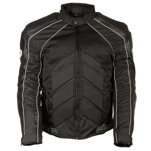 NexGen SH2153 Men's Black Armored Moto Textile and Leather Combo Jacket