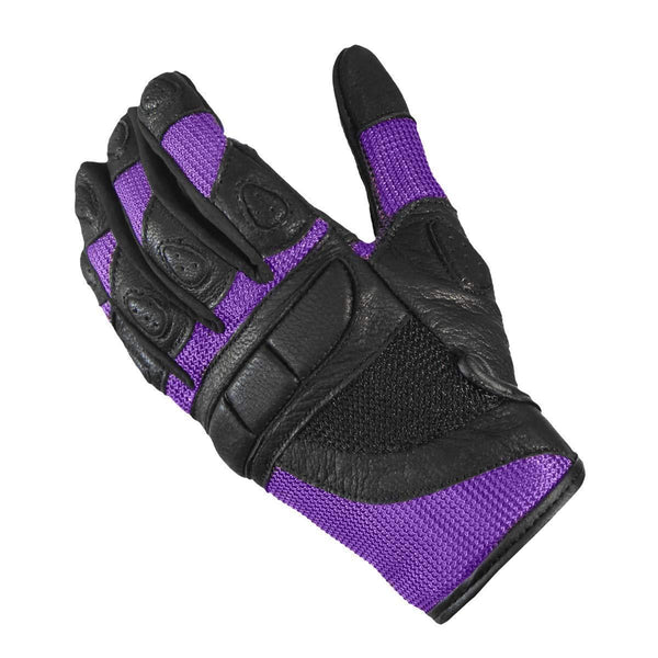 Xelement XG80208 Women's Black and Purple Mesh Cool Rider Motorcycle Gloves