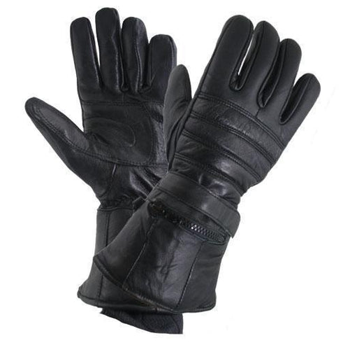 Xelement XG1227 Men's Black 'Gauntlet' Leather Gloves with Rain Cover