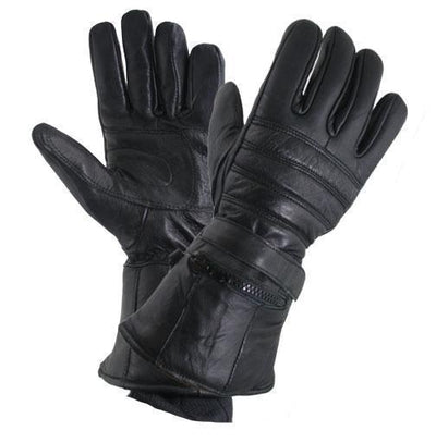 Xelement XG1227 'Gauntlet' Men's Black Leather Gloves with Rain Cover and Long Cuff