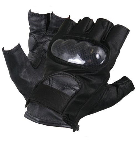 Xelement XG1475 Men's Black Knuckle Protected Leather Fingerless Riding Gloves