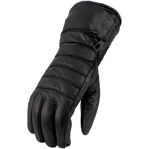 Men's XS2066 Black Gauntlet Leather Motorcycle Winter Gloves with Rain Cover