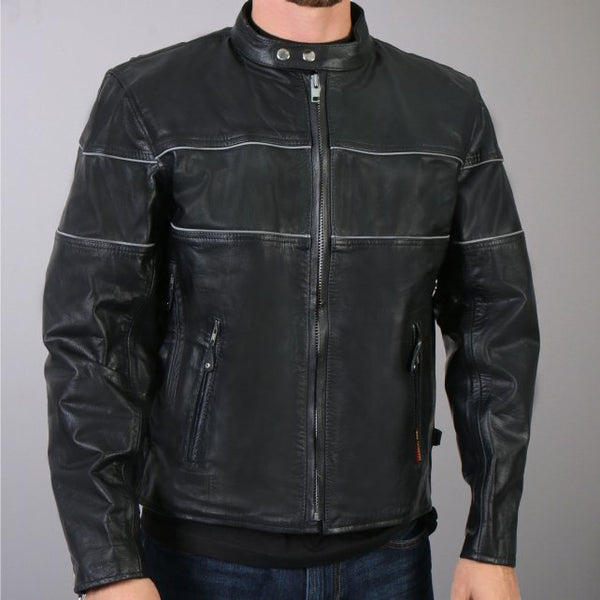 Men's Leather Vented Jacket with Reflective Piping