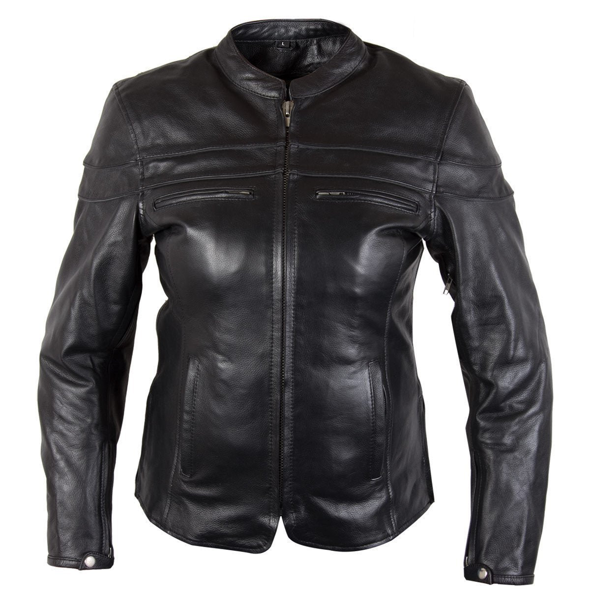 Xelement XS6332 'Road Queen' Ladies Black Cowhide Leather Jacket