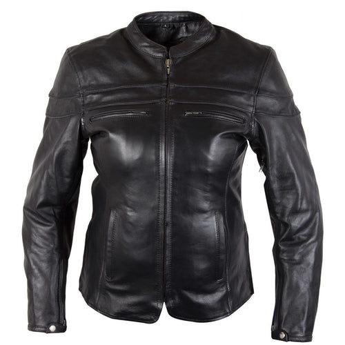 Xelement XS6332 'Road Queen' Ladies Black Cowhide Leather Jacket with X-Armor Protection