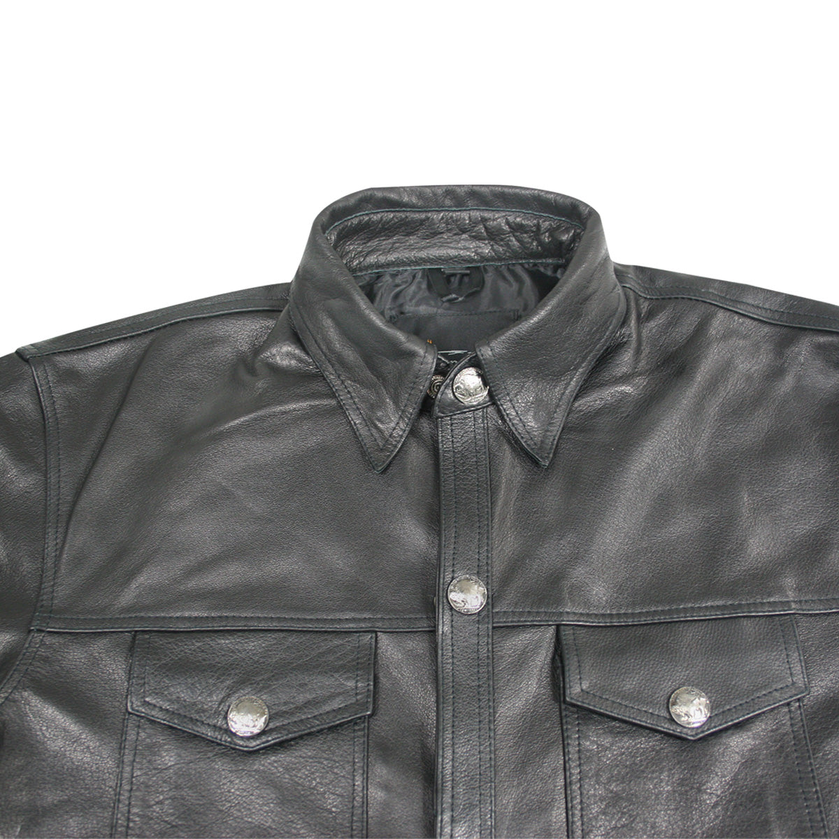 Xelement XS908B Men's 'Nickel' Black Casual Leather Shirt with Vintage