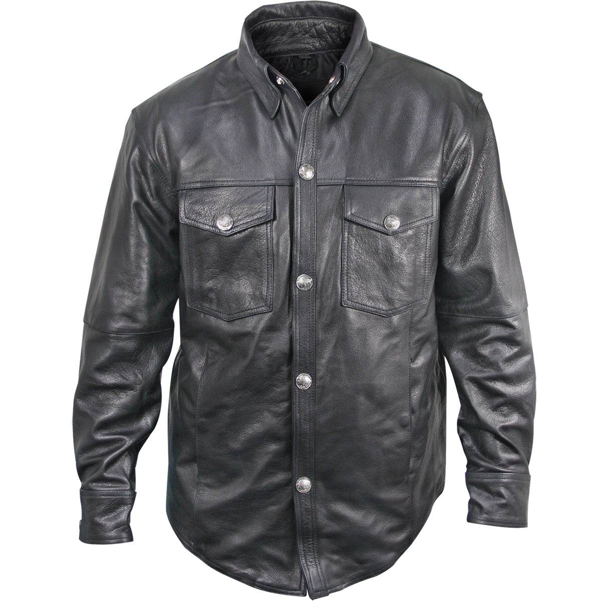 Xelement XS908B Men's Black Leather Shirt with Buffalo Buttons