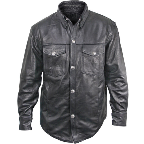 Xelement XS908B Men's 'Nickel' Black Casual Leather Shirt with Vintage Buffalo Buttons