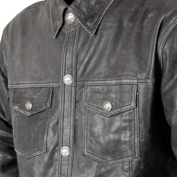 Xelement XS-921G Men's 'Nickel' Distress Gray Leather Shirt with Vintage Buffalo Buttons