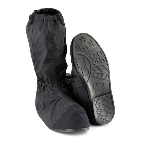 Unisex XS002 Black Full Coverage Hard Walking Sole Motorcycle Rain Boot Covers