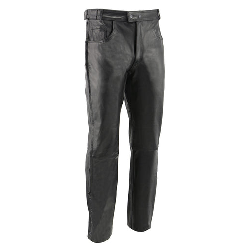 Men's XS1000 Classic Black Leather Motorcycle Over Pants with Deep Jean Style Pockets