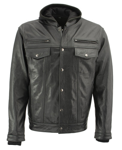 Xelement XS1025 Men's 'Cross Rake' Black Snap Front Leather Shirt Jacket with Removable Hoodie