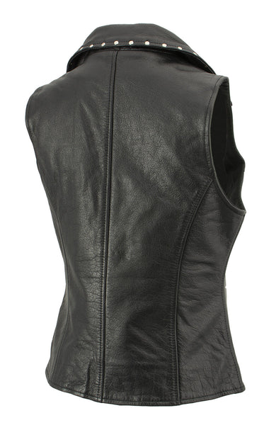 Xelement XS1028 Ladies 'Dita' Black Leather Vest with Riveted M/C Lapel Collar
