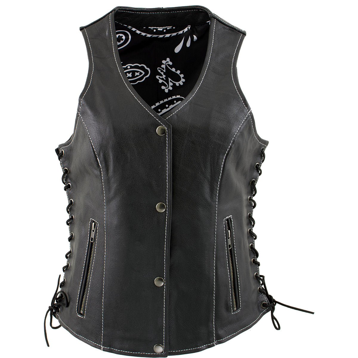 Xelement XS1029 'Paisley' Ladies Black Leather Vest with Side Lace