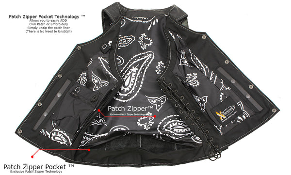 Xelement XS1029 Ladies 'Paisley' Black Leather Vest with Side Lace Adjustment
