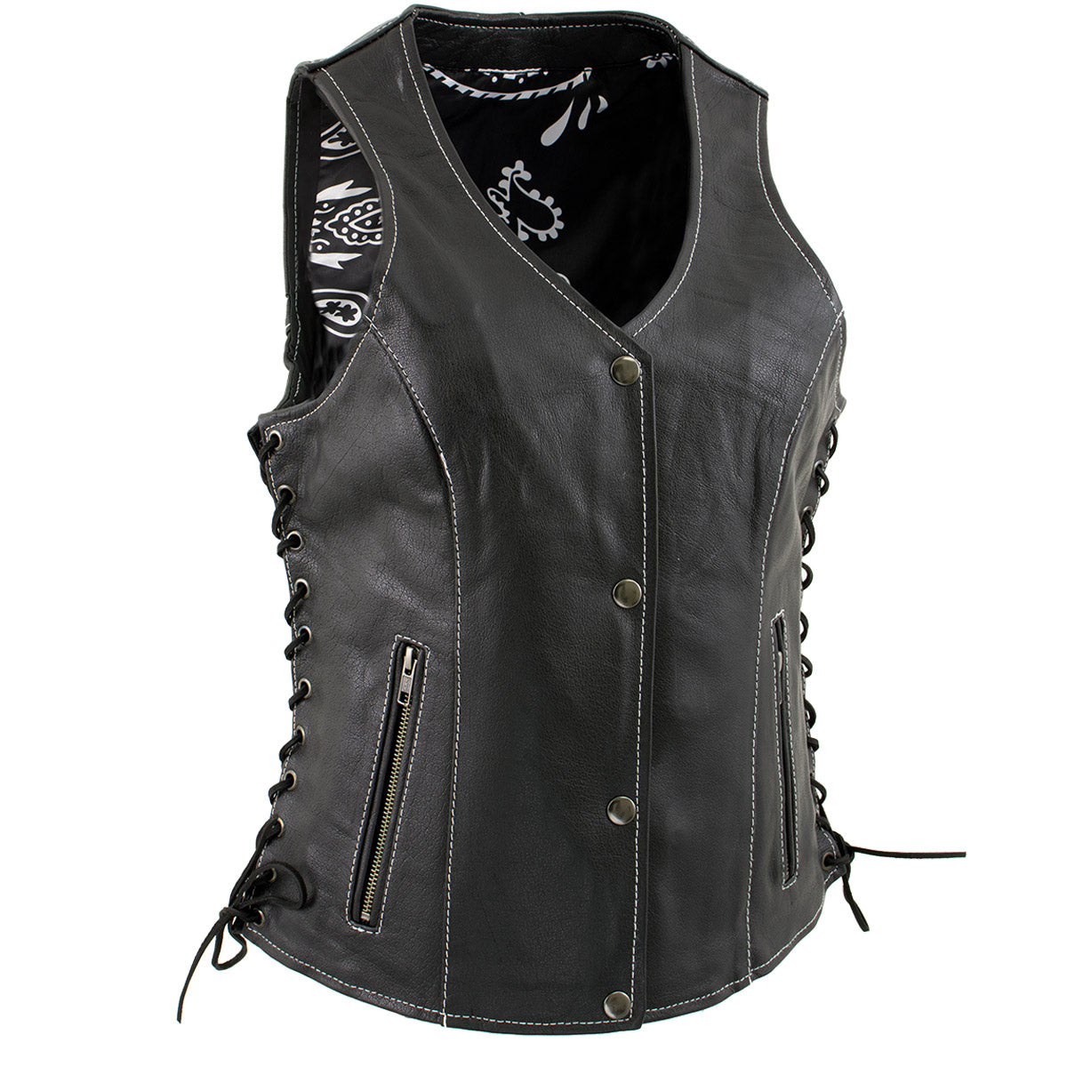 Xelement XS1029 Ladies 'Paisley' Black Leather Vest with Side Lace