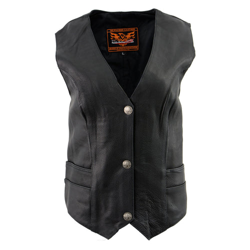 Milwaukee Leather XS1253 Women's Classic Black Leather Vest with Buffalo Nickel Snap Buttons
