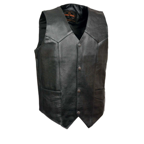 Leather King XS1310 Men's Classic Black Leather Vest with Snap Button Closure