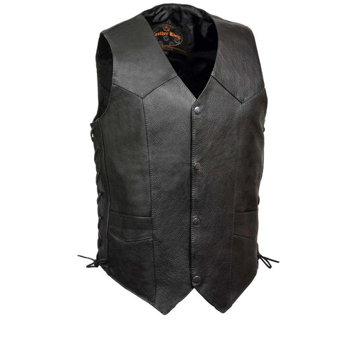 Leather King XS1315LET Men's Classic 'Side Laced' Black Leather Vest