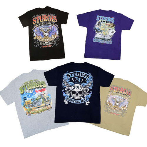 Biker Clothing Co. XS16001 Men's 2019 'Sturgis' Assorted 5 Shirts for $40.00 T-Shirts