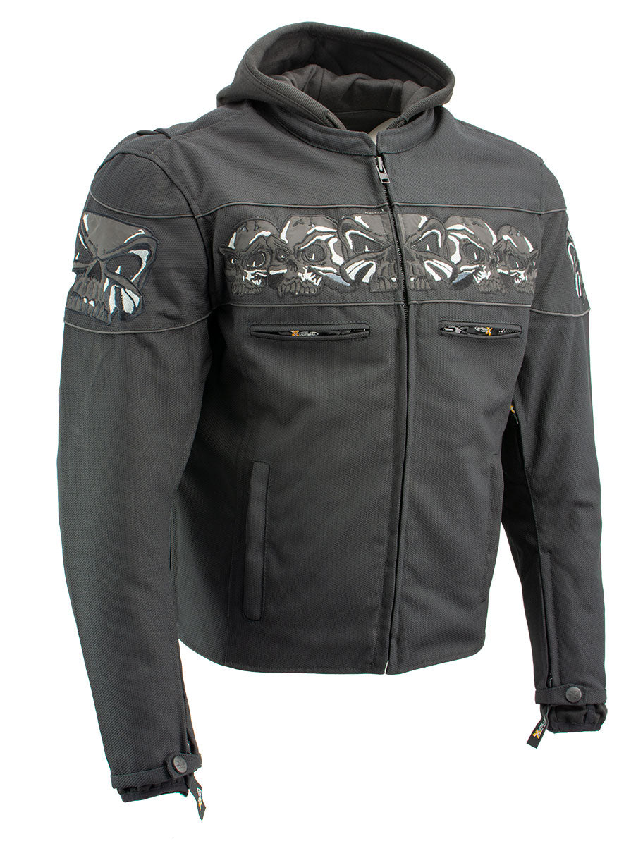 Xelement XS1704 'Vengeance' Men's Black Armored Mesh Motorcycle Jacket with Skull Embroidery