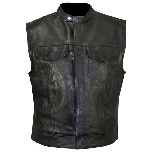 Xelement XS1937 Men's 'Quick Draw' Black Leather Motorcycle Vest