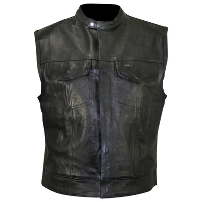 Xelement XS1937 'Quick Draw' Men's Black Leather Motorcycle Vest
