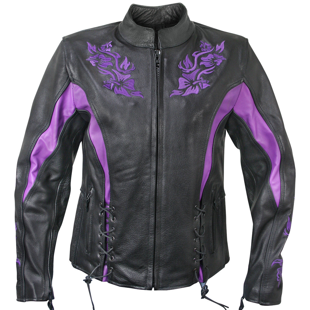 Xelement XS2027 'Gemma' Women's Black and Purple Leather Embroidered Jacket with Armor