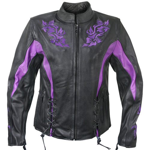 Xelement XS2027 Ladies 'Gemma' Black and Purple Leather Embroidered Jacket with X-Armor