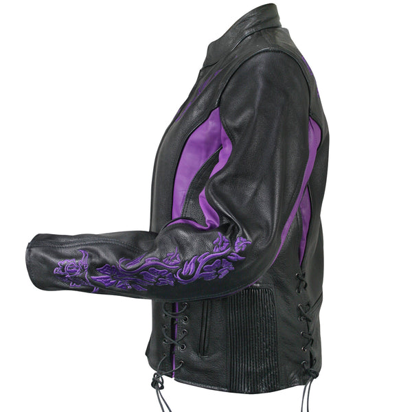 Xelement XS2027 Ladies 'Gemma' Black and Purple Leather Embroidered Jacket with X-Armor Protection