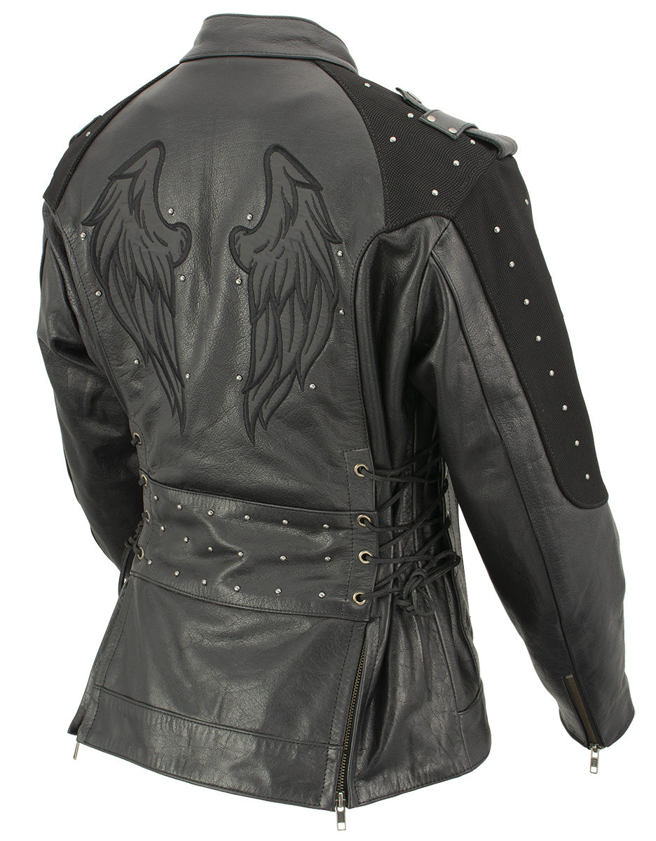 Xelement XS22001 Ladies 'Scuba' Leather Jacket with Reflective Wings