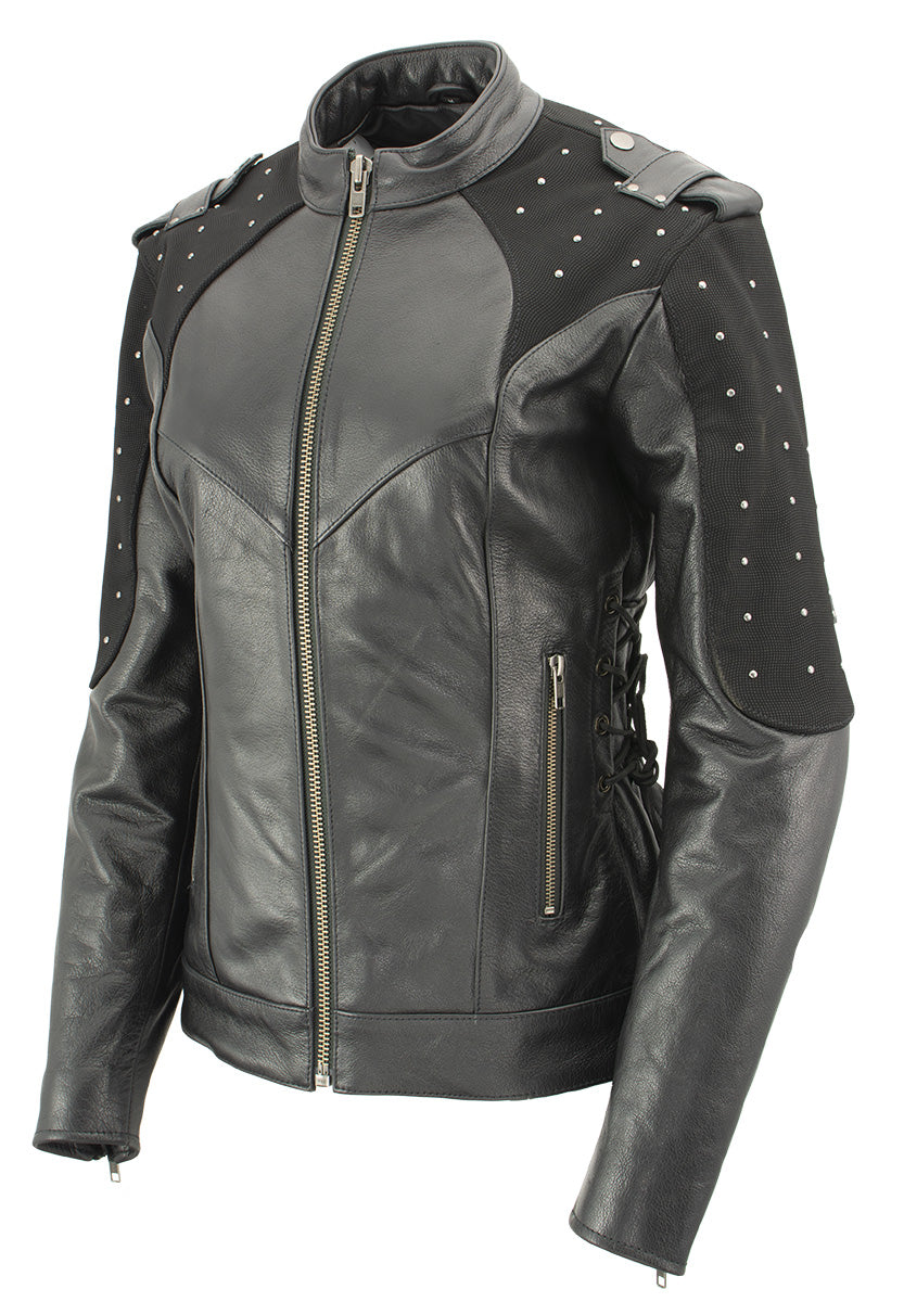 Xelement XS22001 'Scuba' Ladies Leather Jacket with Reflective Wings