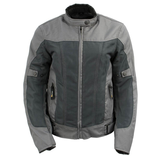 Xelement XS22012 Ladies 'Shade' Grey Textile and Mesh Scooter Jacket with X-Armor