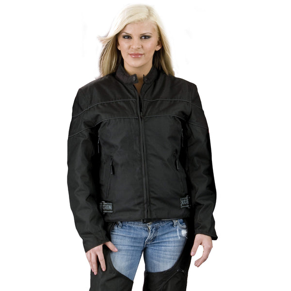 NexGen XS2261 Ladies Black Textile Lightweight Jacket with Reflective Piping