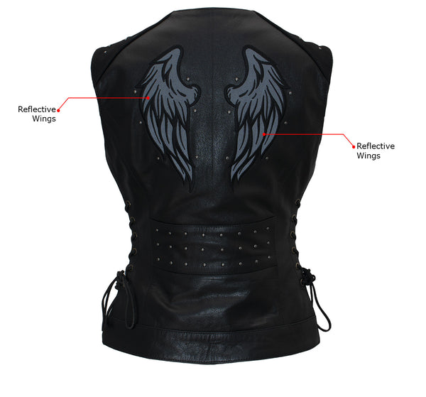 Xelement XS24001 Ladies 'Winged' Black Studded Leather Vest with Side Laces and Reflective Wings