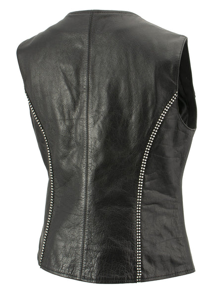 Xelement XS24002 Ladies 'Bling' Black Leather V-Neck Vest with Rhinestone Bling Detail