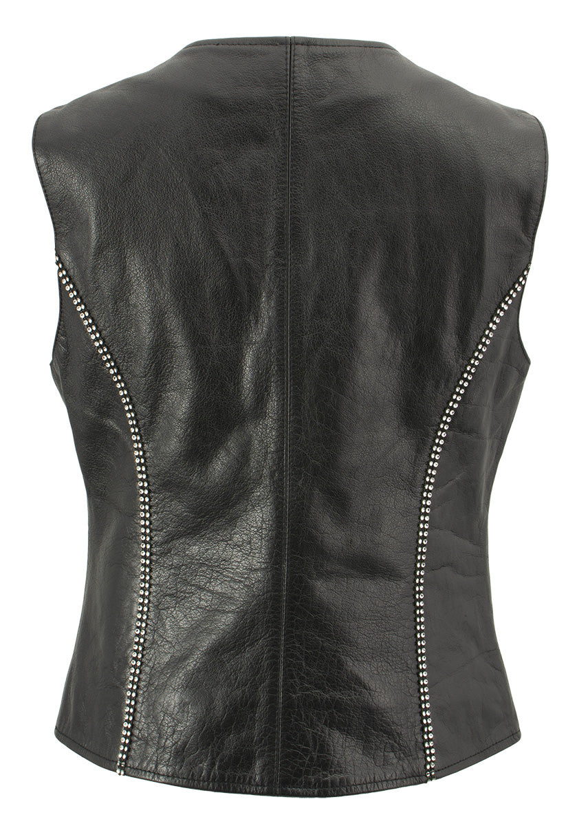Xelement XS24002 Ladies 'Bling' Black Leather V-Neck Vest with