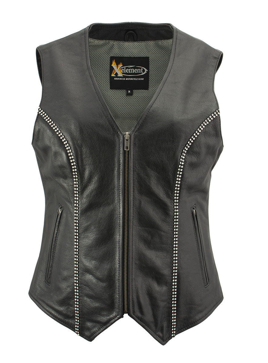 Xelement XS24002 'Bling' Ladies Leather V Neck Zippered Vest with