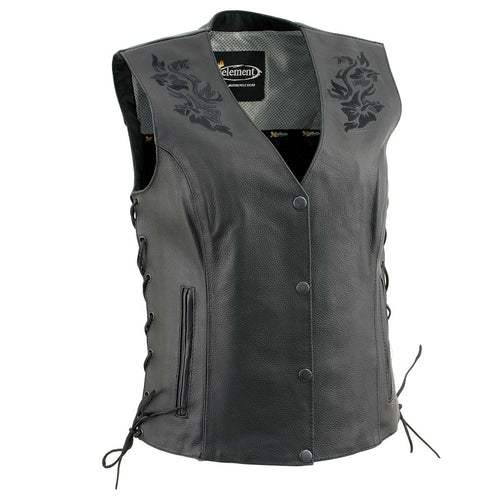 Xelement XS24004 Ladies 'Gemma' Black Leather Vest with Side Lace Adjustment