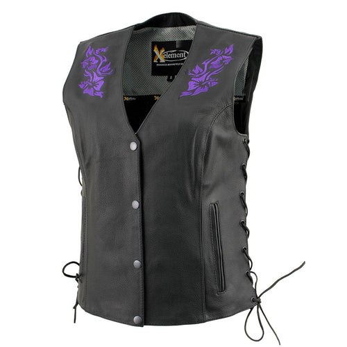 Xelement XS24005 Ladies 'Gemma' Black and Purple Leather Vest with Side Lace Adjustment