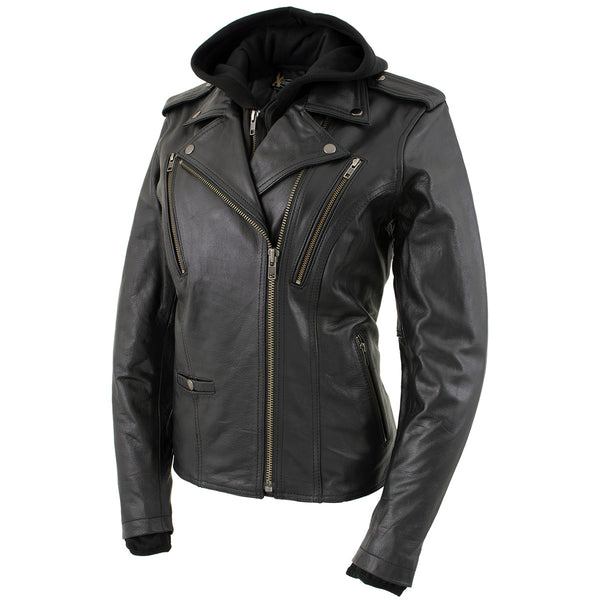 Xelement XS2516 Ladies 'Madame' Black Hooded Vented MC Leather Jacket
