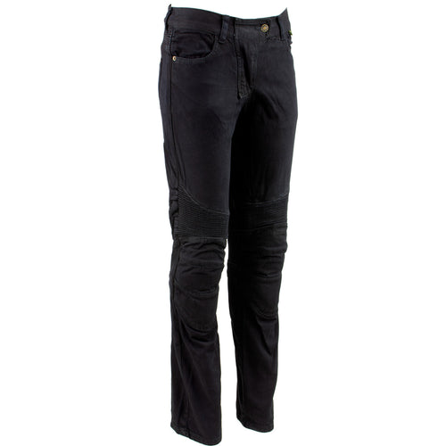 Ladies XS2823 Black Denim Motorcycle Pants with CE Approved Armor