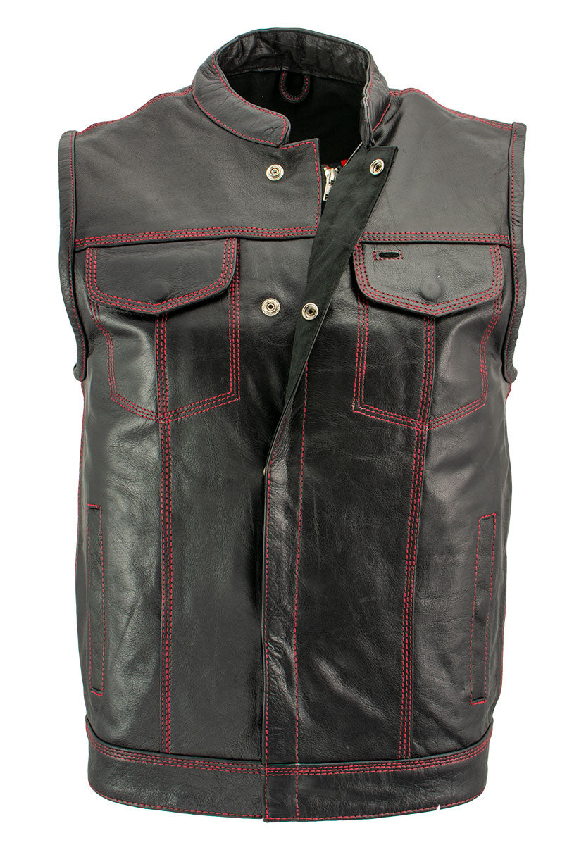 Xelement XS3449 Men's 'Paisley' Black Leather Motorcycle Vest with Red