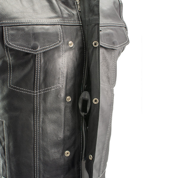 Xelement XS3450 Men's 'Paisley' Black Leather Motorcycle Vest with White Stitching