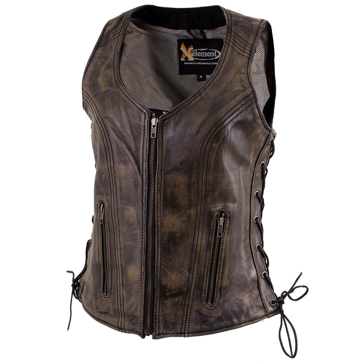 Xelement XS3900 Ladies 'Bella' Distress Brown Leather Vest with Side