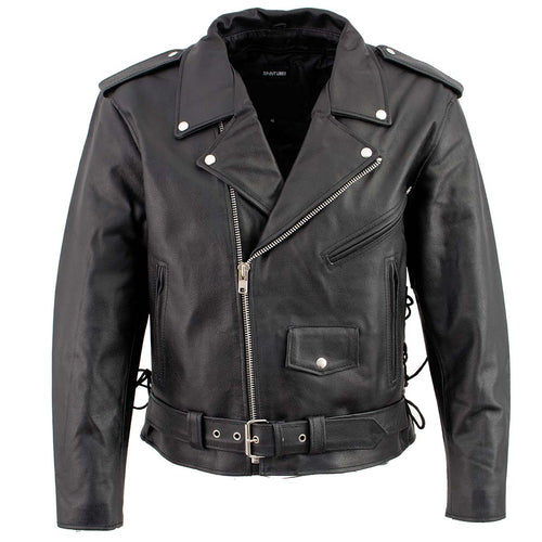 Men's XS400 Black Classic Side Lace Police Style Motorcycle Jacket